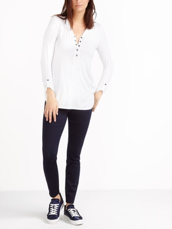 Long Sleeve Nursing Henley Top