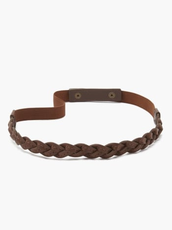 Faux-Leather Braided Maternity Belt.Brown.L/XL