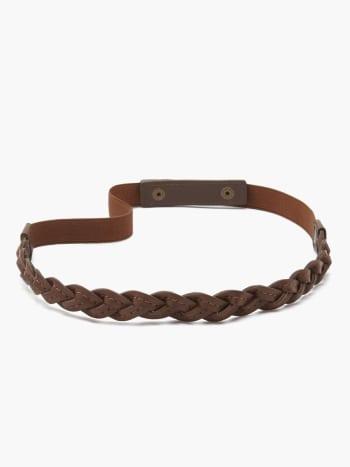 Faux-Leather Braided Maternity Belt.Brown.XXS/XS