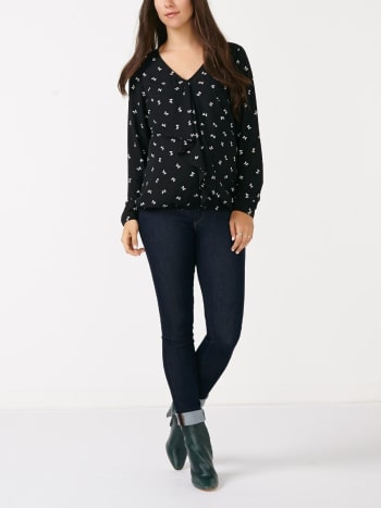 Long Sleeve Printed Nursing Blouse
