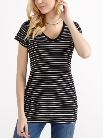 Nursing Kit - Cap Sleeve Striped Nursing T-Shirt