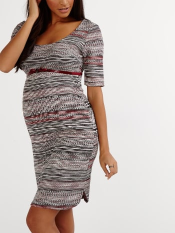 Elbow Sleeve Patterned Maternity Dress