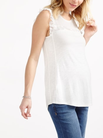 Sleeveless Scoop Neck Ruffled Maternity Top