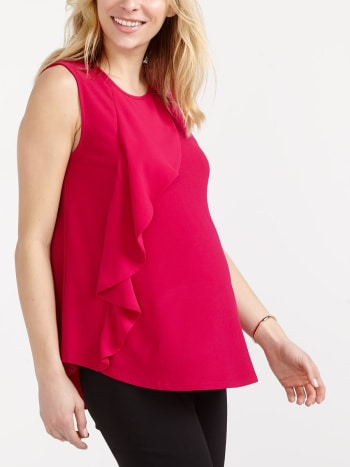 Stork & Babe - Sleeveless Ruffled Maternity Blouse