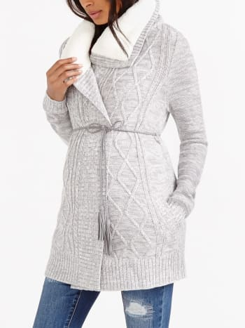 Cable Knit Maternity Cardigan with Sherpa Lining