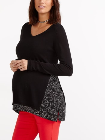 Stork & Babe - Long Sleeve Fooler Maternity Sweater