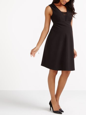 Stork & Babe - Maternity Black Dress with Lace