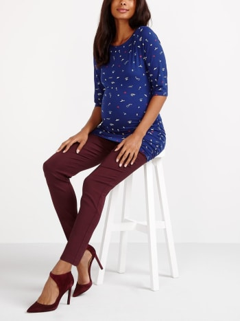 Stork & Babe - Printed Boat Neck Maternity Top
