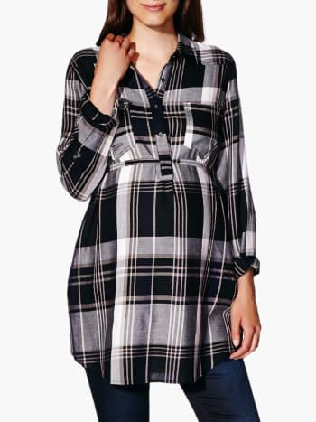 Long Sleeve Plaid Maternity Tunic
