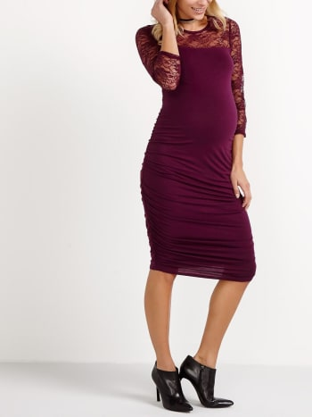 3/4 Lace Sleeve Maternity Dress