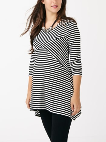 3/4 Sleeve Striped Maternity Tunic