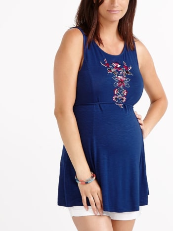 Sleeveless Embroidered Maternity Top