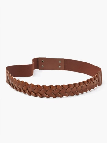 Faux-Leather Braided Maternity Belt