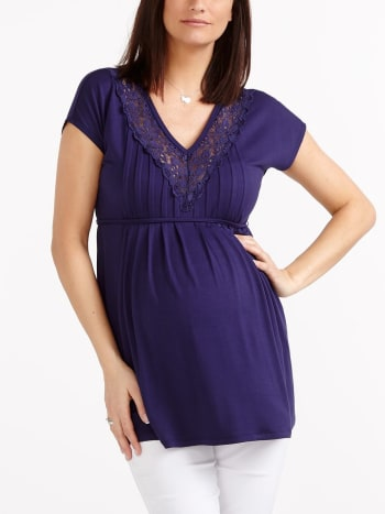 Stork & Babe - Short Sleeve Maternity Tunic with Crochet