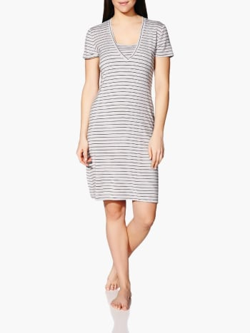 Short Sleeve Striped Nursing Nightgown