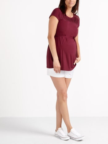 Short Sleeve Pleated Maternity Top