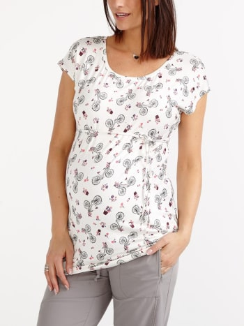 Short Sleeve Printed Maternity Top