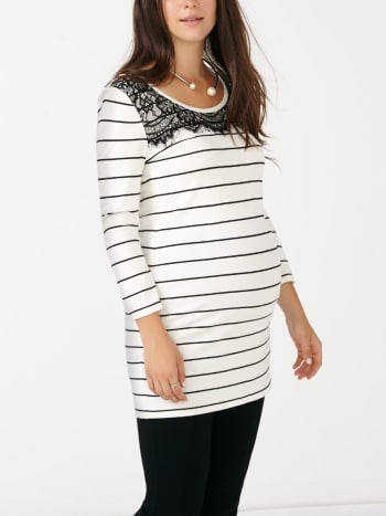 Stork & Babe - 3/4 Sleeve Striped Maternity Tunic with Lace