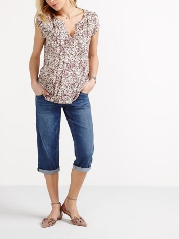 Maternity Boyfriend Denim Capri