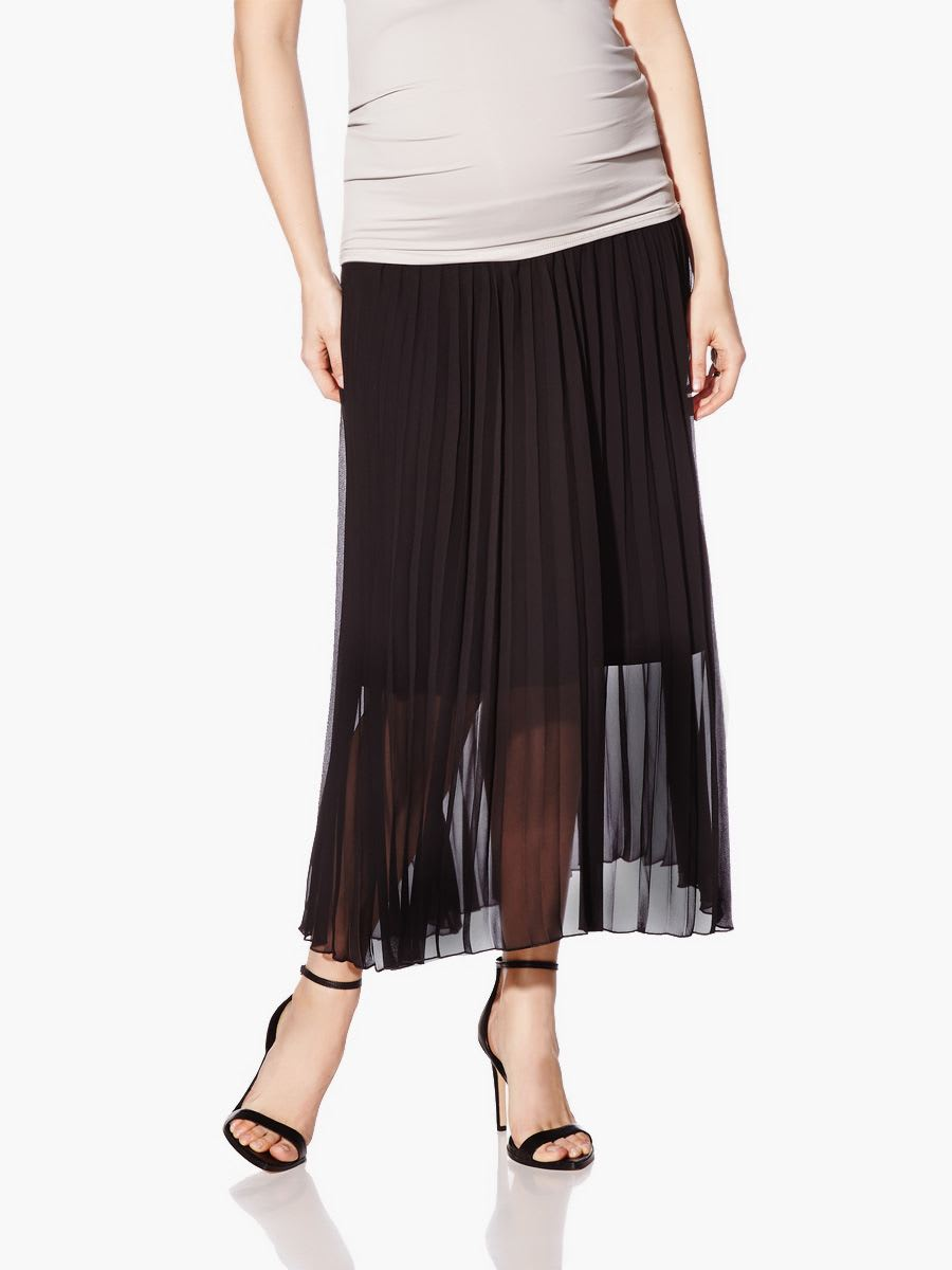 nepton pleated maternity maxi skirt thyme