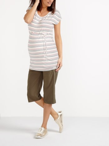 Short Sleeve Striped Maternity Top