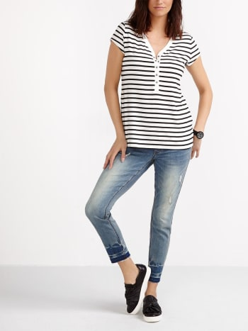 Cap Sleeve Striped Henley Nursing Top