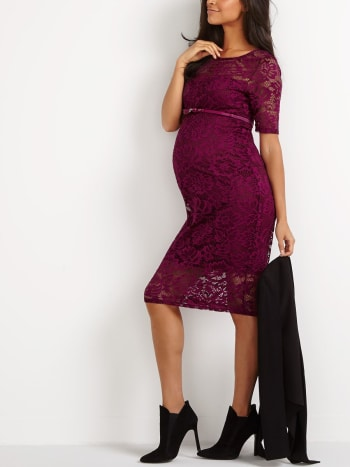 Stork & Babe - Lace Bodycon Maternity Dress