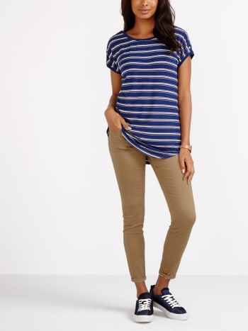 Striped Nursing T-Shirt with Snap Buttons