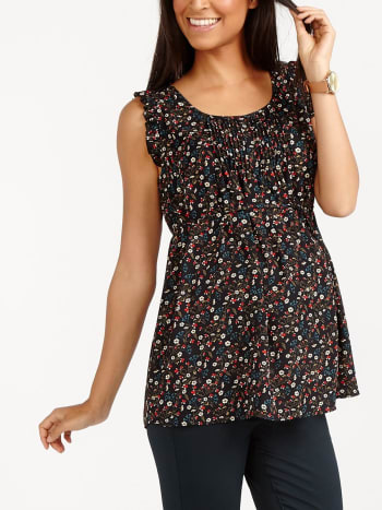 Sleeveless Printed Maternity Blouse