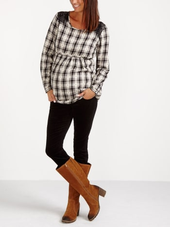 Maternity Plaid Blouse