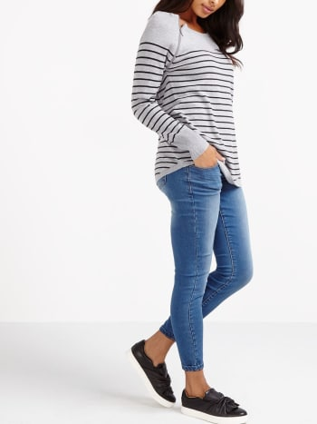 Long Sleeve Striped Nursing Sweater