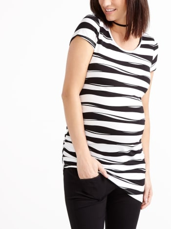 Stork & Babe - Cap Sleeve Printed Asymmetric Maternity Top