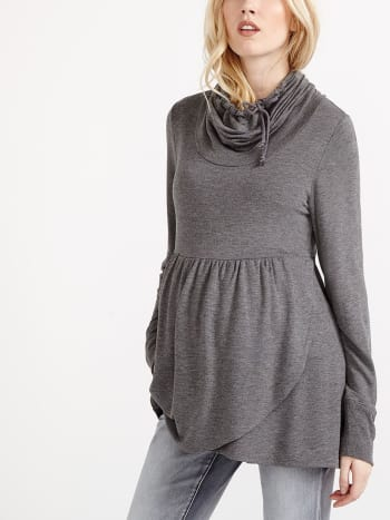 Long Sleeve Crossover Maternity Pullover