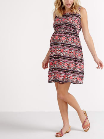 Sleeveless Printed Maternity Dress