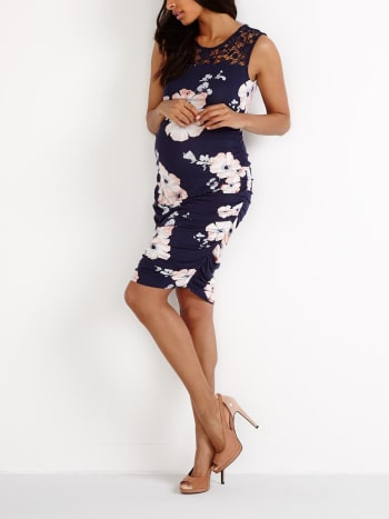 Stork & Babe - Floral Print Maternity Dress with Lace