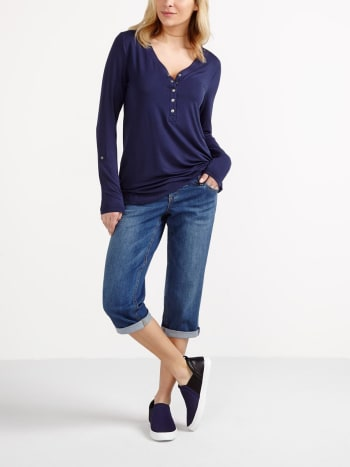 Long Sleeve Henley Nursing Top