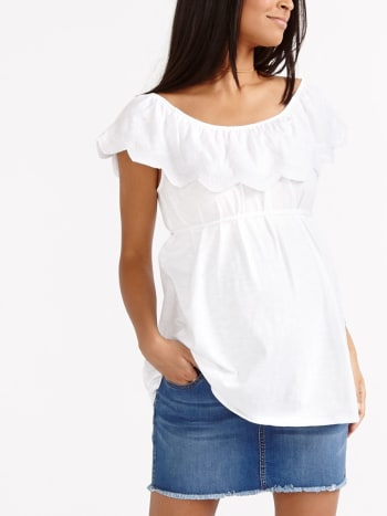 Maternity Off Shoulder Flounce Top