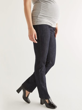 Petite Dark Wash Bootcut Maternity Jean.Denim Dark Blue.XS