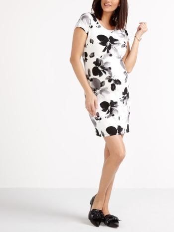 Stork & Babe - Short Sleeve Floral Print Maternity Dress
