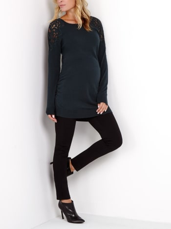 Long Sleeve Maternity Sweater with Crochet