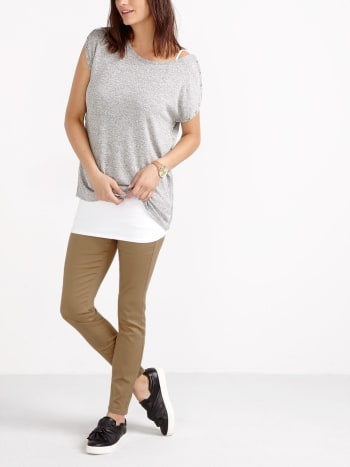 Short Sleeve Nursing Top with Snap Buttons