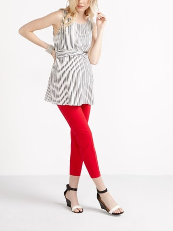 Stork & Babe - Striped Maternity Blouse with Knotted Tie