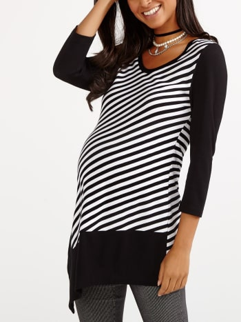 Stork & Babe - Striped Asymmetric Maternity Tunic