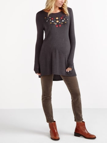 Embroidered Maternity Sweater