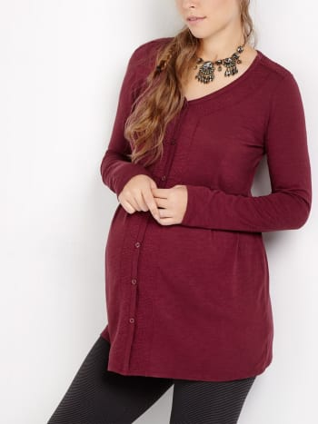 Long Sleeve Embroidered Maternity Top
