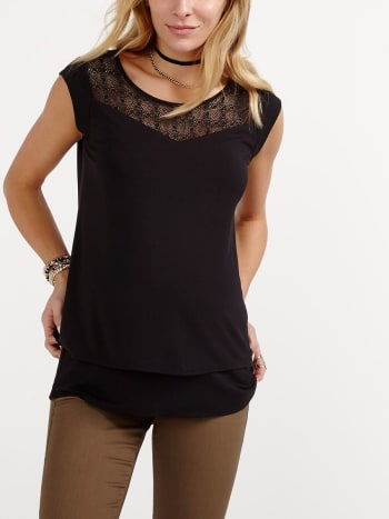 Cap Sleeve Nursing Top with Lace