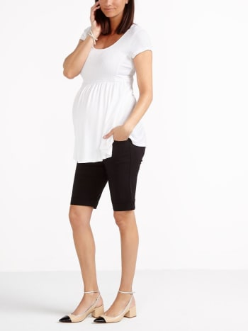 Stork & Babe - Short Sleeve Smocked Maternity Top