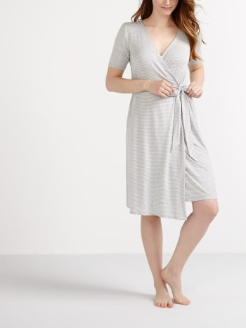 Short Sleeve Striped Maternity Robe
