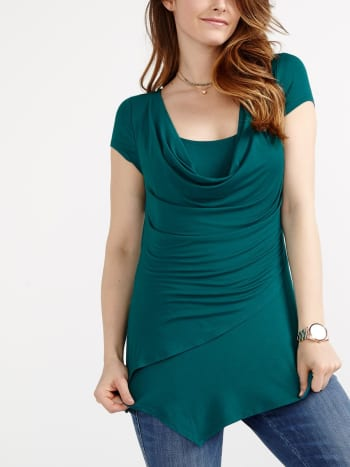 Short Sleeve Asymmetric Nursing Top