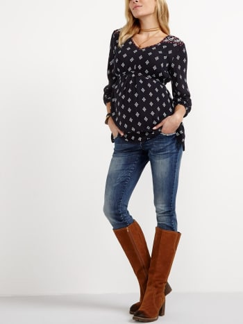 Long Sleeve Printed Maternity Blouse